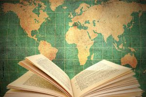 open book with world map
