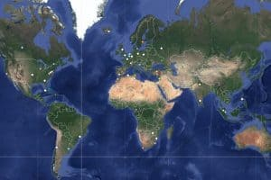 Map showing Artists At Risk Coalition globally