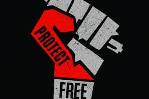fist holding a pencil with the text, protect free expression