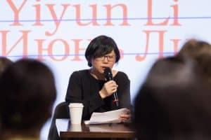 Yiyun Li giving her lecture