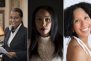 Headshot collage of Elizabeth Nunez, Safiya Sinclair, and Tiphanie Yanique