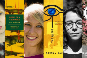 Collage of headshots and book covers of Women in Translation Month selections