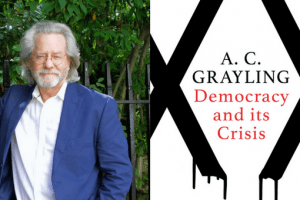 Headshot of A.C. Grayling and cover of Democracy and its Crisis