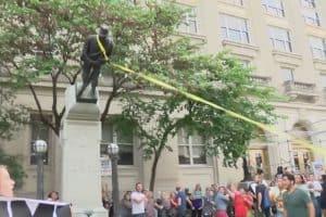 Protestors topple confederate statues