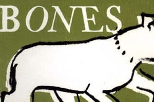 """Illustration of white dog with the word """"Bones"""""""