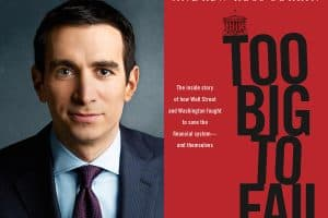 Andrew gross Sorkin headshot and cover of Too Big to Fail