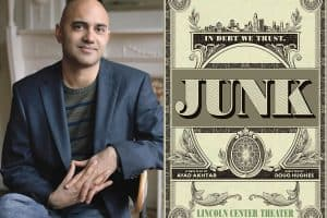 Ayad Akhtar headshot and cover of Junk