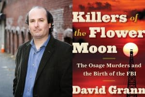 Headshot of David Grann and cover of Killers of the Flower Moon
