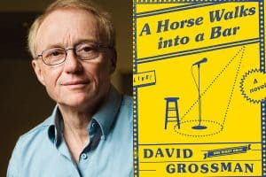 Headshot of David Grossman and cover of A Horse Walks into a Bar