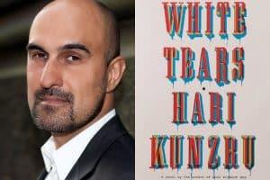 Headshot of Hair Kunzru and cover of White Tears