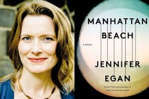 Jennifer Eagan headshot and cover of Manhattan Beach