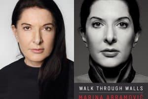 Marina Abramovic headshot and cover of Walk through Walls