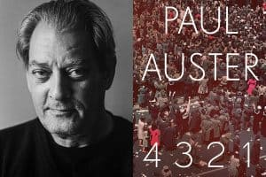 Headshot of Paul Auster and cover of 4321