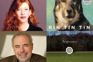 Headshots of Susan Orlean and Richard Russo and covers of Rain Tin T and Trajectory