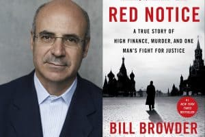 Headshot of Bill Browder and cover of Red Notion