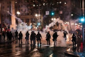 Police and Tear Gas at j20 Protest