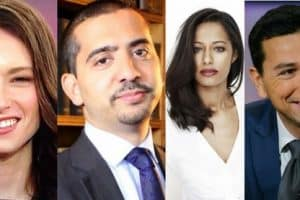 Headshot collage of Wajahat Ali, Mehdi Hasan, Rula Jebreal, Ayman Mohyeldin, Julia Ioffe, and Malika Bilal