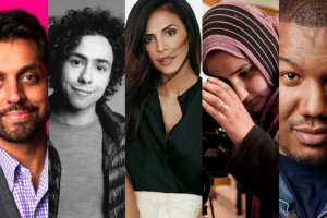 Headshots of Wajahat Ali, Ramy Youssef, Lena Khan, Travon Free, and Kathreen Khavari