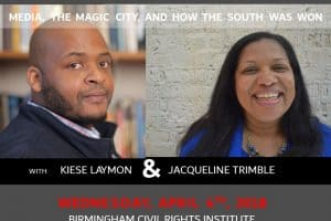 Post-Martin Luther King event graphic featuring headshots of Kites Laymon and Jaqueline Trimble
