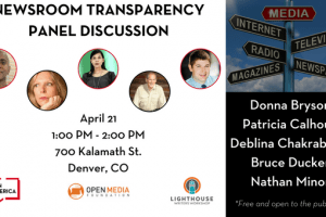 Newsroom Transparency Panel discussion event graphic