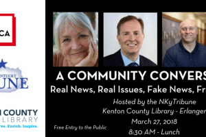 A community conversation event graphic featuring headshots of panelists