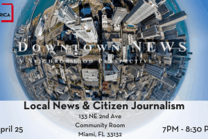 Local News and Citizen Journalism event graphic featuring a globe of a city