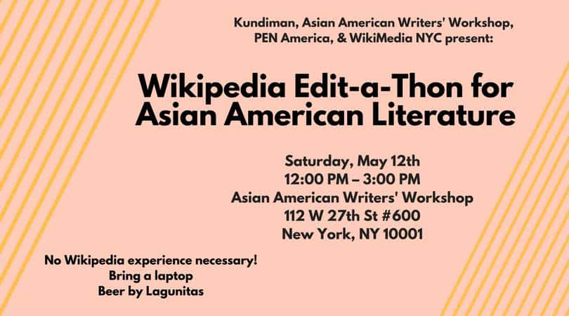 Wikipedia Edit-a-Thon for Asian American Literature event graphic