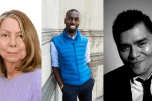 Headshots of Jill Abramson, DeRay Mckesson, and Jose Antonio Vargas