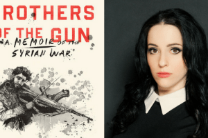 Headshot og Molly Crabapple and book cover Brothers of the Gun: A Memoir of the Syrian War