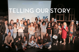 group photo of teens with words: telling our story