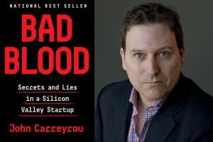 cover of Bad Blood and headshot of John Carreyrou