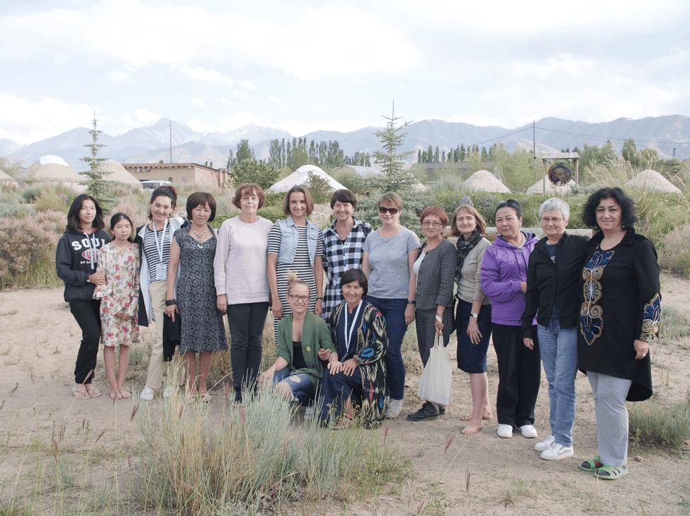 Participants in the yurt encampment in Tosor, Kyrgyzstan