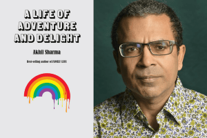 Headshot of Akhil Sharma and cover of A Life of Adventure and Delight