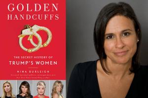 Nina Burleigh headshot and cover of Golden Handcuffs