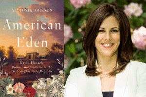 Victoria Johnson headshot and cover of American Eden