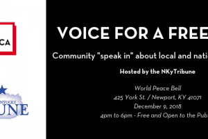 voice for a free press event graphic