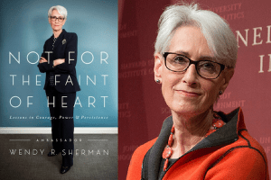 Cover of Not For the Faint of Heart and headshot of Wendy Sherman