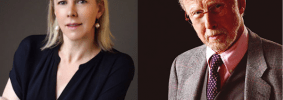 Headshots of Caroline Weber and Michael Korda
