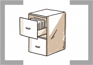 icon of a filing cabinet with an open drawer
