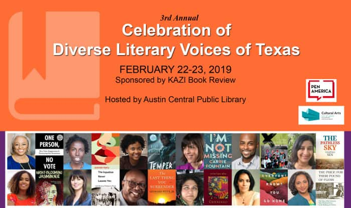 third annual celebration of diverse literary voices of texas flyer with headshots and book covers of participants