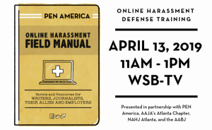 Online Harassment Defense Training on April 13, 2019