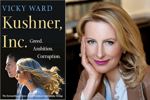Vicky Ward headshot and cover for her book, Kushner Inc.