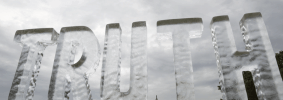 """ice sculpture of the word """"truth"""""""