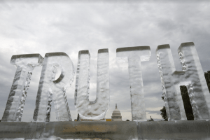 "ice sculpture of the word ""truth"""