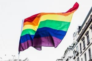 waving pride flag