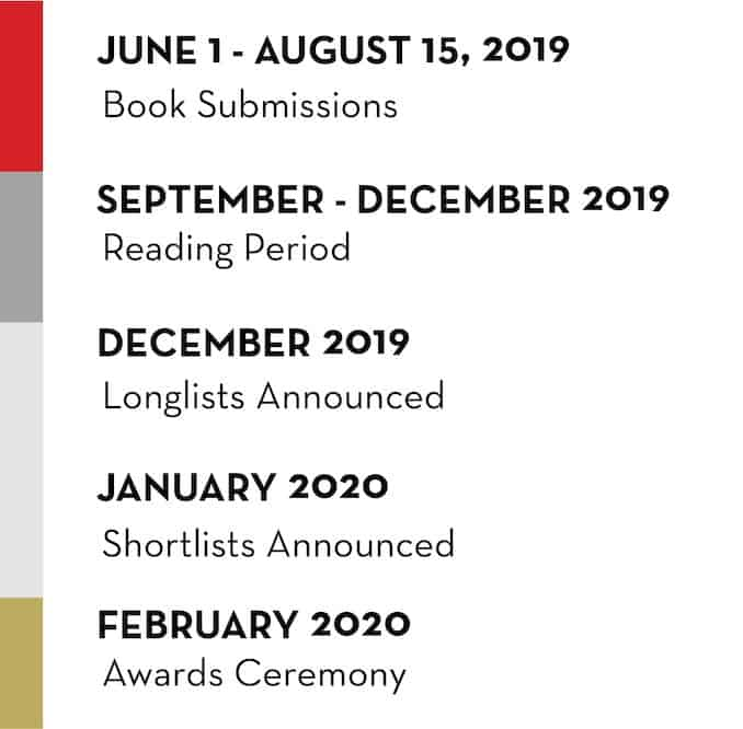 timeline of the 2020 literary awards cycle