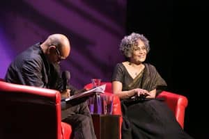 Arundhati Roy and Siddartha Deb at the 2019 World Voices Festival
