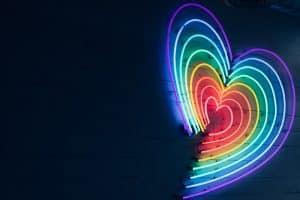 neon rainbow heart