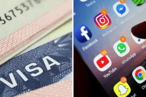 apps on a phone and a visa document