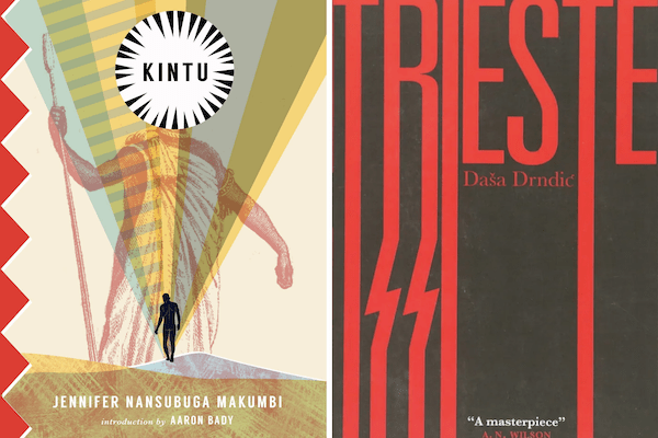 book covers of Kintu and Trieste